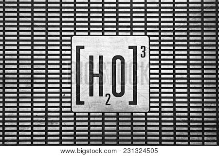 Engraved Symbol Of Water Cube On Stainless Steel