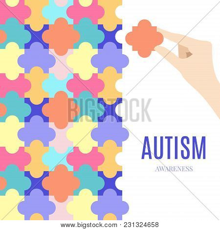 Autism Awareness Vector Poster With Jigsaw Puzzle On White Background. Hand Holding A Piece. Coopera