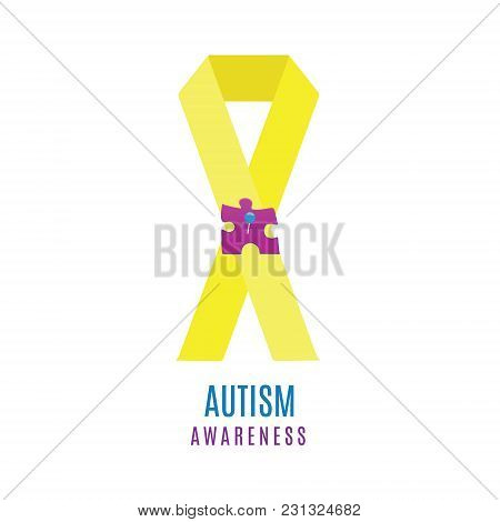 Autism Awareness Poster With A Puzzle Piece Pinned To A Ribbon. Social Interaction And Communication