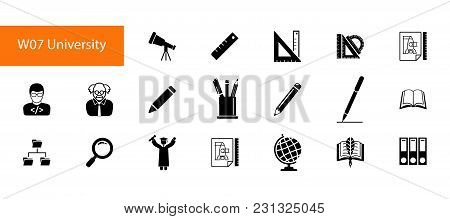 Nineteen High Education Flat Vector Icons Collection On White Background. Can Be Used For Topics Lik