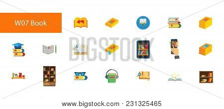 Nineteen Library Flat Vector Icons Collection On White Background. Can Be Used For Topics Like Readi