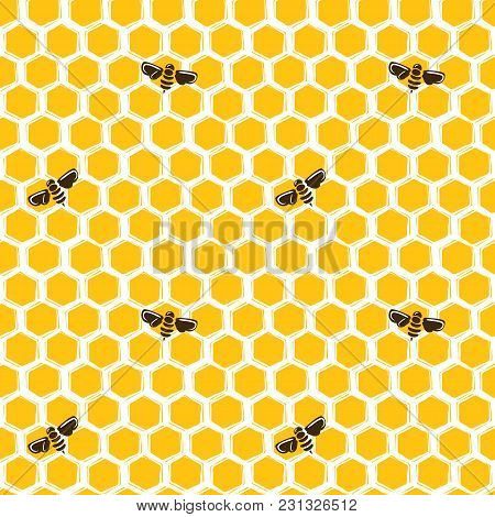 Vector Seamless Pattern Of Honeycombs And Bees. Background Design