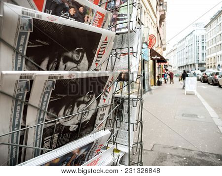 Paris, France - Mar 15, 2018: French Liberation Newspaper With Portrait Of Stephen Hawking The Engli