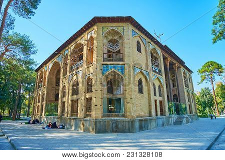 Isfahan, Iran - October 20, 2017: The  Brick Building Of Hasht Behesht Palace Has Four Unique Facade