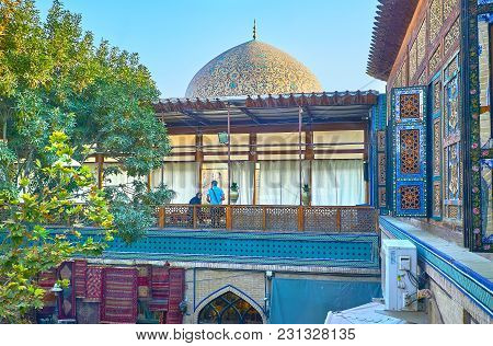 Isfahan, Iran - October 20, 2017: The Upper Gallery Of Nagsh-e Jahan Banquet Hall With The Decorated