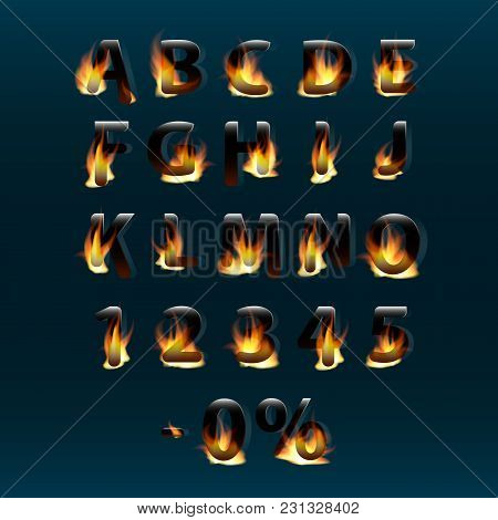 Hot Letters And Numbers On Fire. Alphabet.fire Burning Vector Font. Part 1.