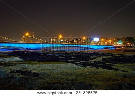 The Bright Lights Of Modern Ferdowsi Bridge Across Dried Up Zayandeh River, Isfahan, Iran.