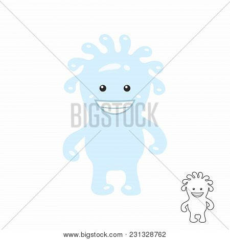 Cute Blue Cartoon Monster. Isolated On White Background