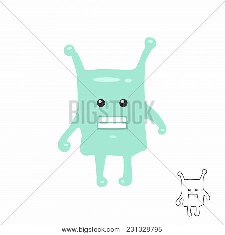 Cute Green Cartoon Monster. Isolated On White Background