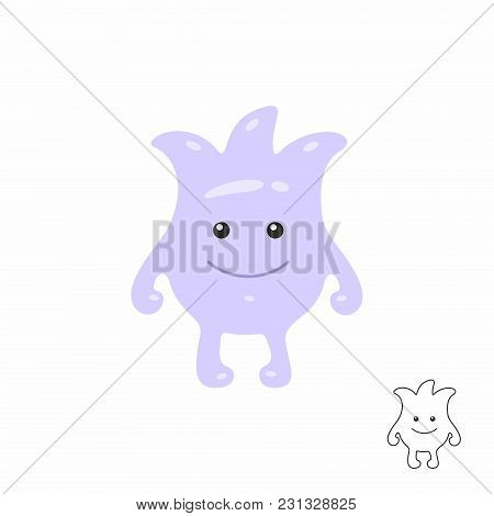 Cute Purple Cartoon Monster. Isolated On White Background