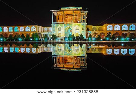 The Landmarks Of Naqsh-e Jahan Square Are Especially Gorgeous At Night - Brightly Illuminated Qapu P