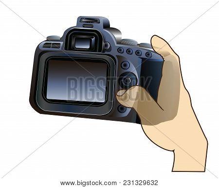 Photographer Take A Photo See At Monitor Of Digital Camera Dslr Or Mirrorless ( My Design )demon Sho