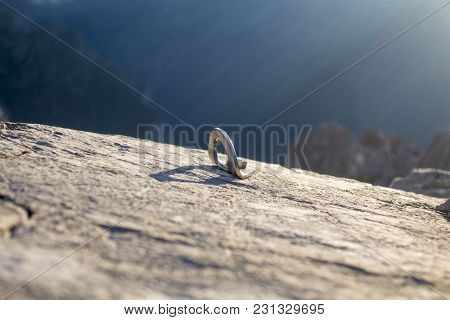 Climbing Bolt In The German Alps In Summer