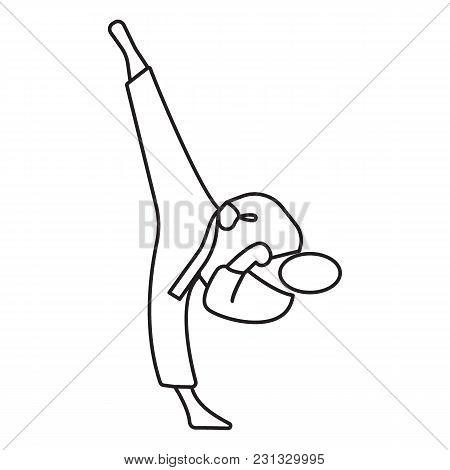 Taekwondo Icon. Outline Taekwondo Vector Icon For Web Design Isolated On White Background