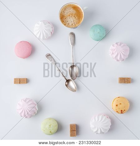Time To Drink Coffee. A Clock In The Form Of Coffee. Macarons, Sugar, Marshmallows. Creative And Cre