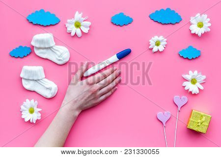 Waiting For A Baby With Positive Pregnancy Test And Flowers On Pink Background Top View Mockup