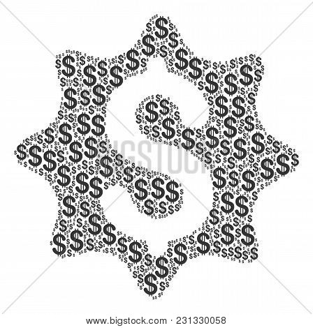 Money Award Mosaic Of Dollars. Vector Dollar Currency Symbols Are Grouped Into Money Award Compositi
