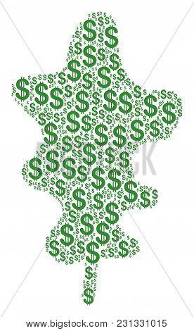 Oak Leaf Mosaic Of Dollar Symbols. Vector Dollar Icons Are United Into Oak Leaf Collage.
