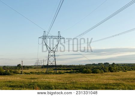 Support Of High-voltage Power Line In The Field.