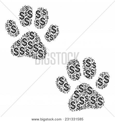 Paw Footprints Collage Of Dollar Symbols. Vector Dollar Currency Pictograms Are Organized Into Paw F