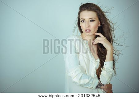 Woman With Makeup Face, Long Brunette Hair, Beauty. Sensual Woman In White Shirt, Fashion. Beauty, L