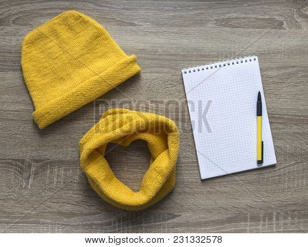 Background Tree Yellow Snood Scarf Cap With Spell Knitted Knitting Needles Face Mohair Merino Wool A