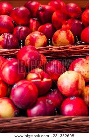 Organic Fresh Ripe Peaches  A Local Farmer Market.  Nectarines On Display Stall. Healthy Local Food