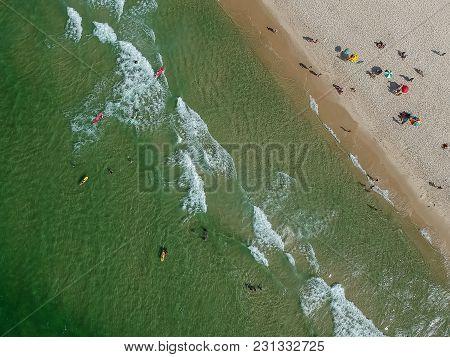 Drone Photo Of Barra Da Tijuca Beach, Rio De Janeiro, Brazil. We Can See The Beach, The Waves, The S