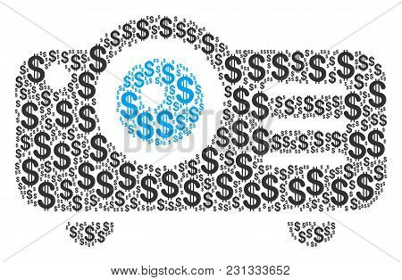 Projector Collage Of American Dollars. Vector Dollar Currency Pictograms Are Organized Into Projecto