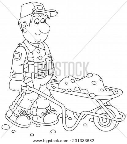 Smiling Worker Carrying Sand In A Wheelbarrow, A Black And White Vector Illustration In Cartoon Styl