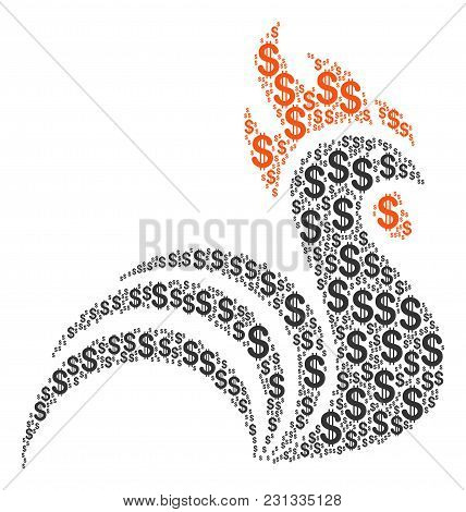 Rooster Composition Of American Dollars. Vector Dollar Currency Symbols Are Composed Into Rooster Mo