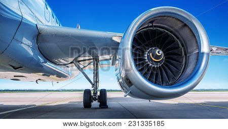 Jet Engine Of An Modern Airliner At A Runway