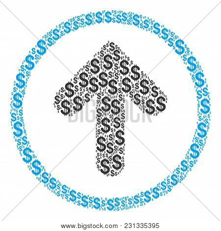 Rounded Arrow Mosaic Of American Dollars. Vector Dollar Currency Pictograms Are Grouped Into Rounded