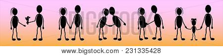 Vector, Silhouettes Of A Young Couple In Love, A Story Of Love And The Creation Of A Family