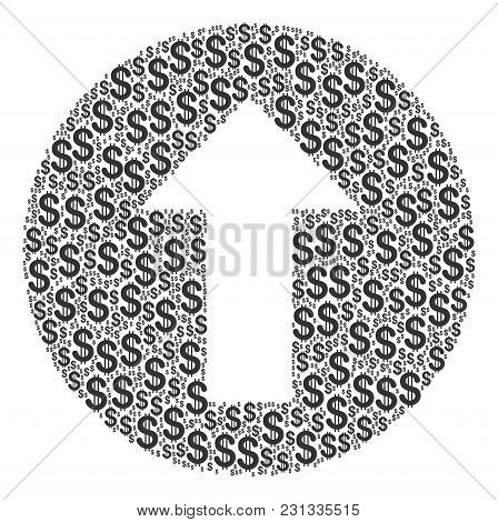 Rounded Arrow Composition Of Dollars. Vector Dollar Symbols Are Combined Into Rounded Arrow Mosaic.