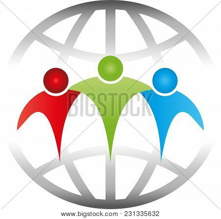 Three People And Globe, Friends And Team Logo