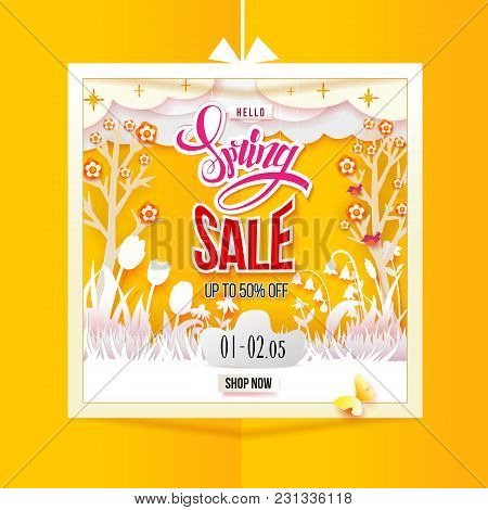 Spring Sale With Meadow With Flowers In Paper Frame On Yellow Background. Grass, Tulips, Chamomiles,