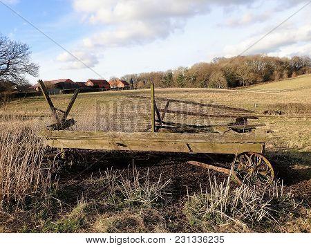 Abandoned Wagon In Farmland Landscape, Chorleywood, Hertfordshire