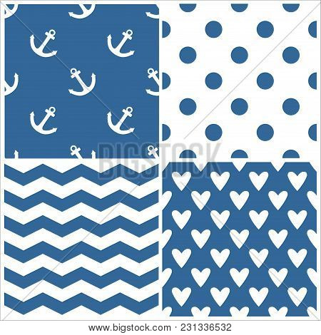 Tile Sailor Vector Pattern Set With Polka Dots, Zig Zag Stripes And Hearts On Navy Blue Background