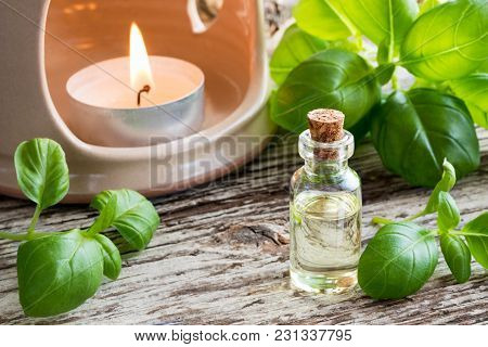 A Bottle Of Basil Essential Oil With Fresh Basil Twigs And An Aroma Lamp