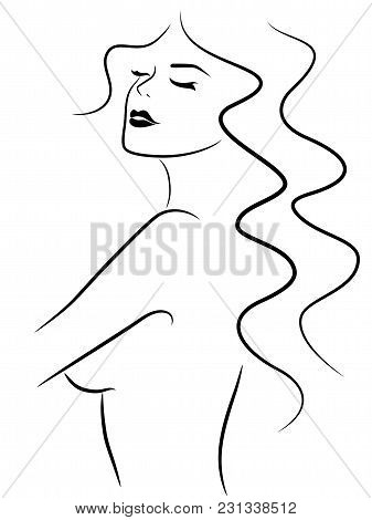 Abstract Exciting Sensual Young Woman With Closed Eyes, Simple Vector Outline