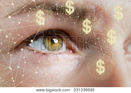 A Business Woman Watches The Network For Electronic Money.