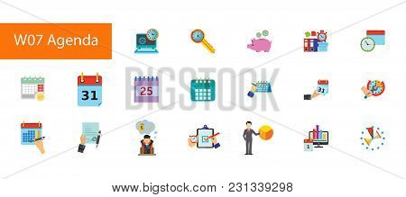 Nineteen Agenda Flat Vector Icons Collection On White Background. Can Be Used For Topics Like Busine