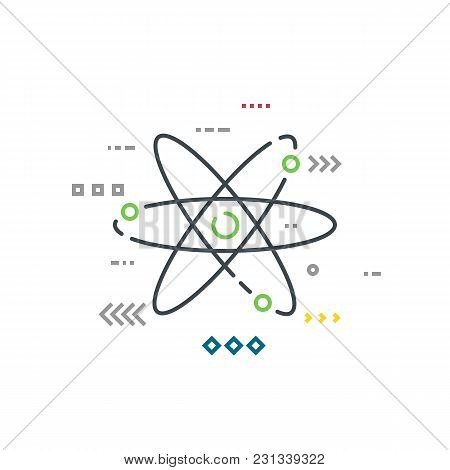 Abstract Rutherford-bohr Lithium Atom Model With Three Electron Orbits. Quantum Particles Floating A