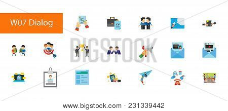 Nineteen Business Communication Flat Vector Icons Collection On White Background. Can Be Used For To