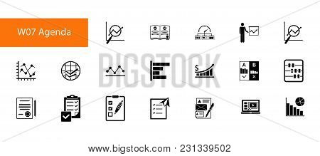 Nineteen Business Research Flat Vector Icons Collection On White Background. Can Be Used For Topics
