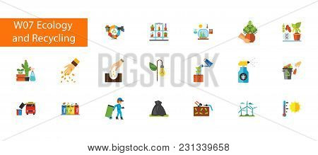 Nineteen Ecology And Recycling Flat Vector Icons Collection On White Background. Can Be Used For Top