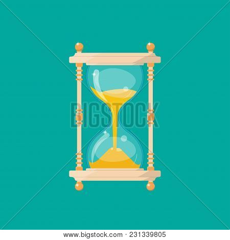 Transparent Sandglass In Retro Style Isolated On A Green Background. An Antique Tool For Measuring T