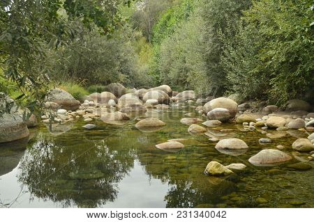 Natural Pools With Picturesque Stones Beautiful Landscape In El Raso (avila). Landscapes River Natur