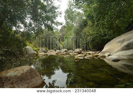 Natural Pools With Picturesque Stones Beautiful Landscape In El Raso (avila). Landscapes River Natur